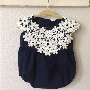 Other - Navy Romper with Lace Bib Collar